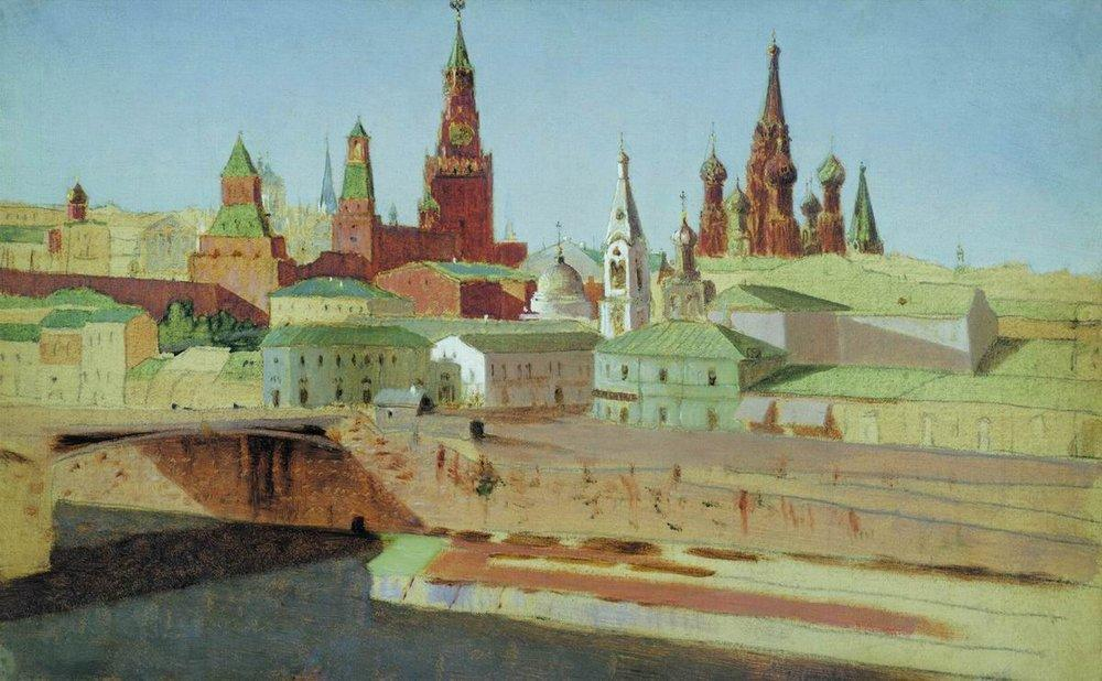 View of the Moskvoretsky Bridge, the Kremlin and the Pokrovsky Cathedral - Arkhip Kuindzhi