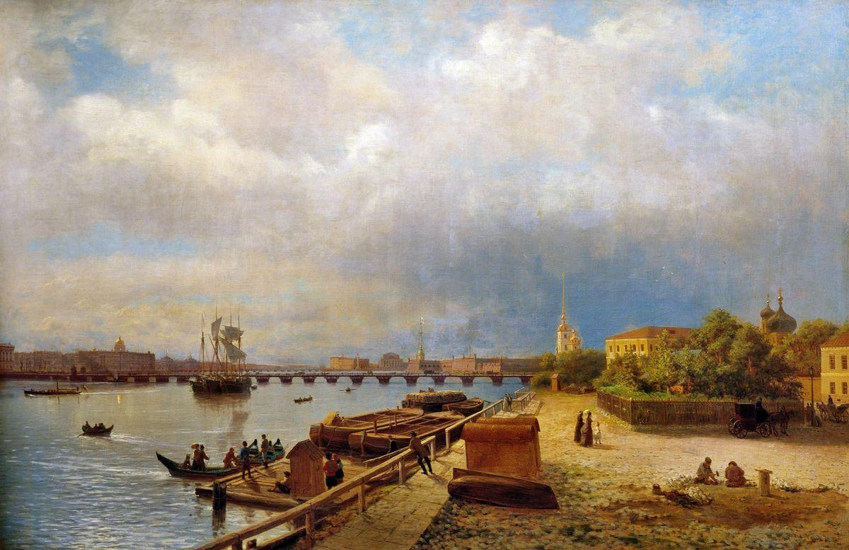 View of the Neva and Peter and Paul Fortress - Lev Lagorio