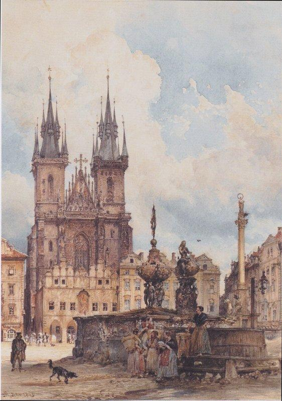 View of the Old Town Square with the Church in Prague They - Rudolf von Alt