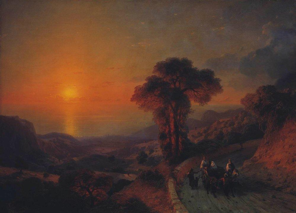 View of the Sea from the Mountains at Sunset. Crimea - Ivan Aivazovsky