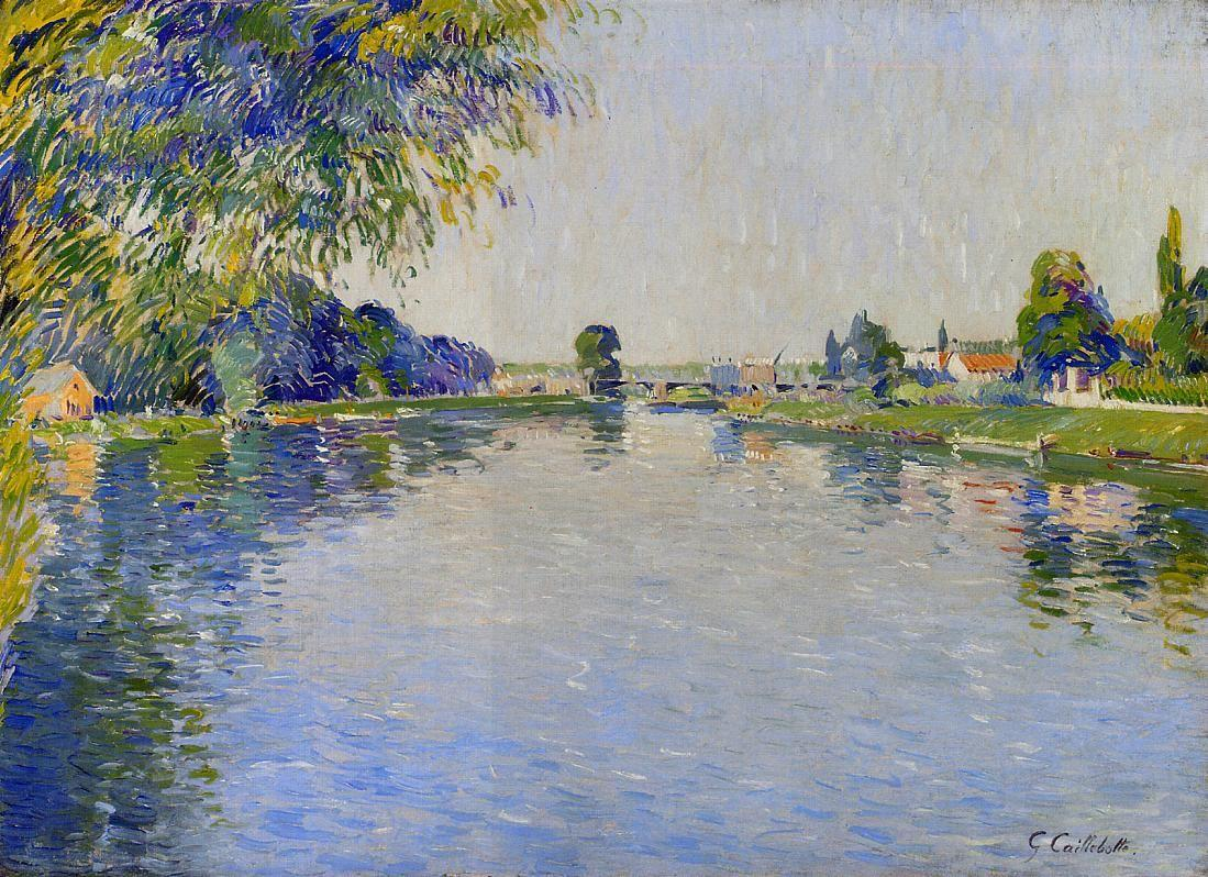 View of the Seine in the Direction of the Pont de Bezons - Gustave Caillebotte