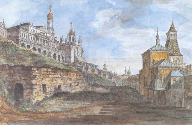 View of the Sovereign's Palace and the Church of the Annunciation in the Rye yard - Fyodor Alekseyev