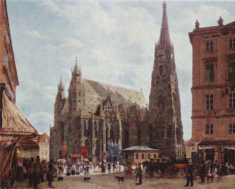 View of the Stephansdom from Stock im Eisen Platz - Rudolf von Alt