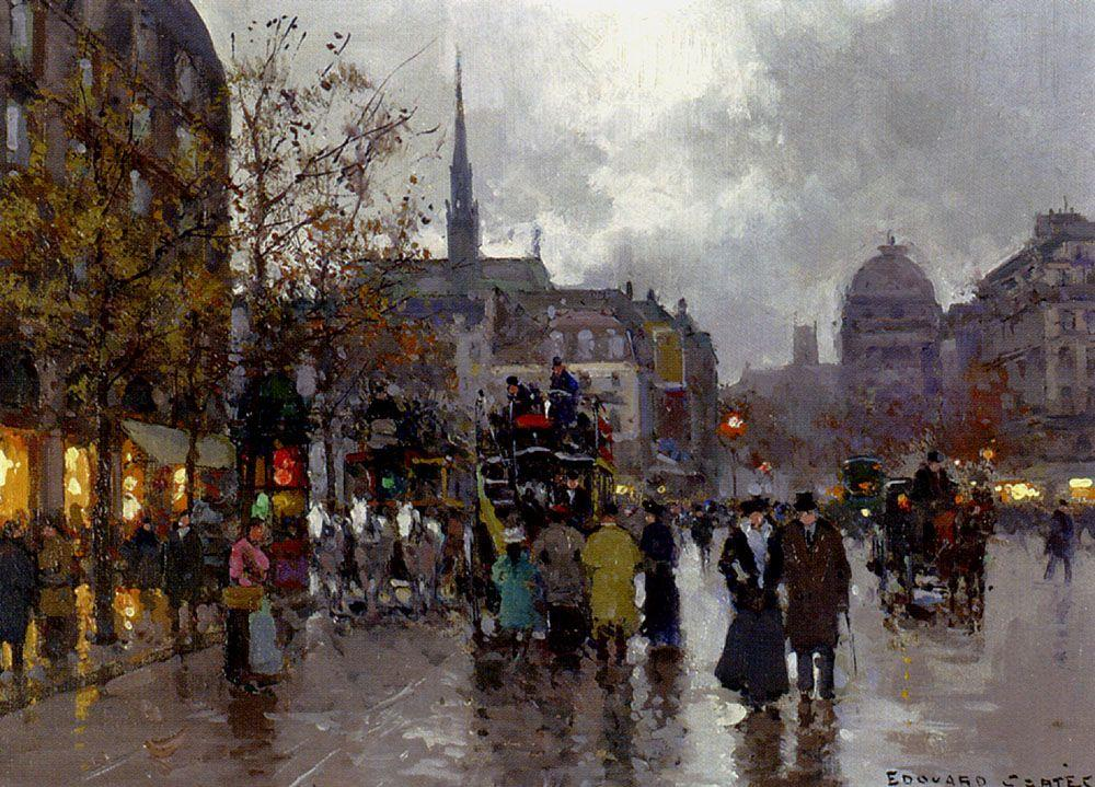 View of the Street Rivoli and Notre Dame - Edouard Cortes