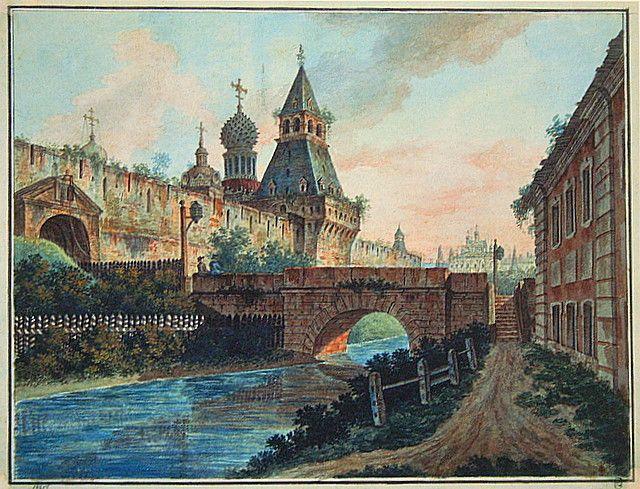 View of Vladimirskiye (Nikolskiye) Gate of Kitai gorod - Fyodor Alekseyev