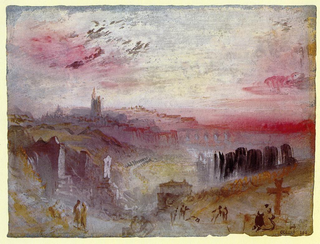 View over Town at Sunset: a Cemetery in the Foreground - William Turner