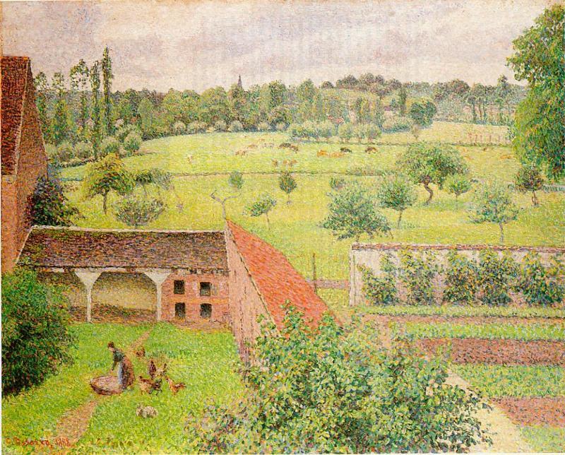 View Through a Window, Eragny - Camille Pissarro