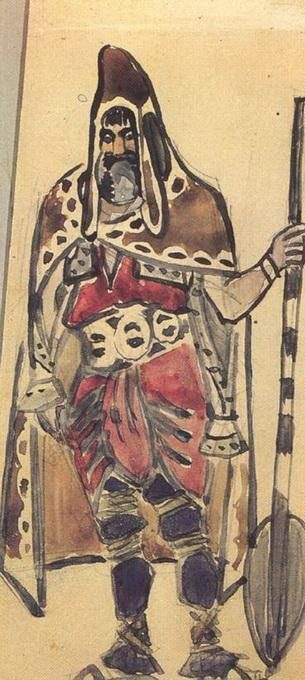 "Viking Merchant (Costume design for the opera ""Sadko"") - Mikhail Vrubel"