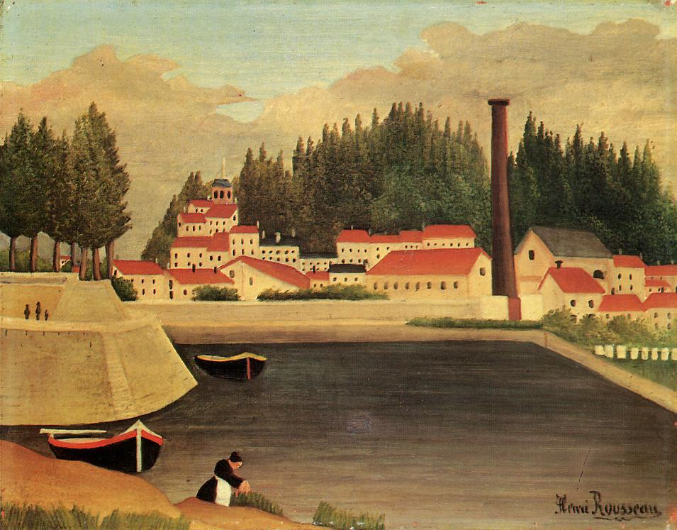 Village near a Factory - Henri Rousseau