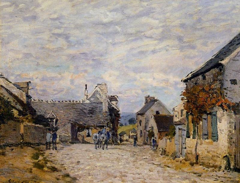 Village Street Louveciennes - Alfred Sisley