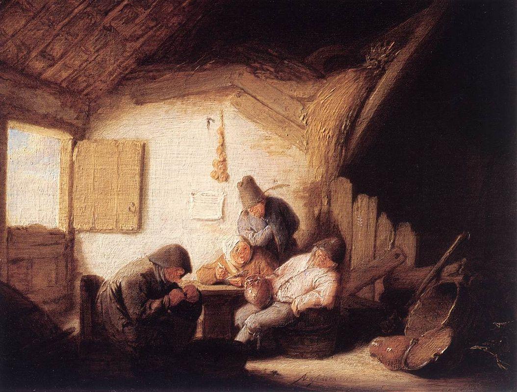 Village Tavern with Four Figures - Adriaen van Ostade