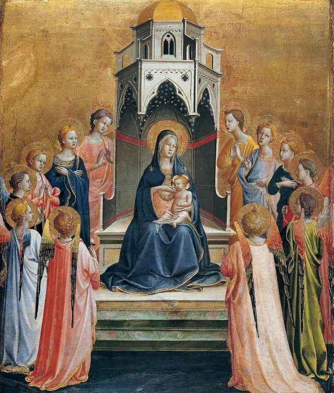 Virgin and Child Enthroned with Twelve Angels - Fra Angelico