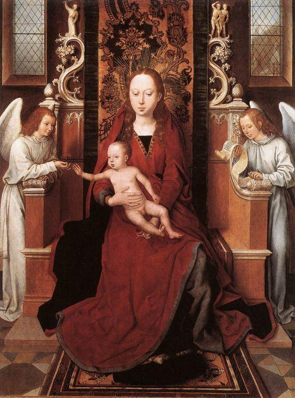 Virgin and Child Enthroned with Two Angels - Hans Memling
