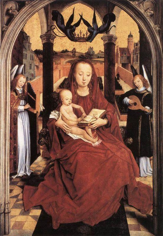 Virgin and Child Enthroned with two Musical Angels - Hans Memling