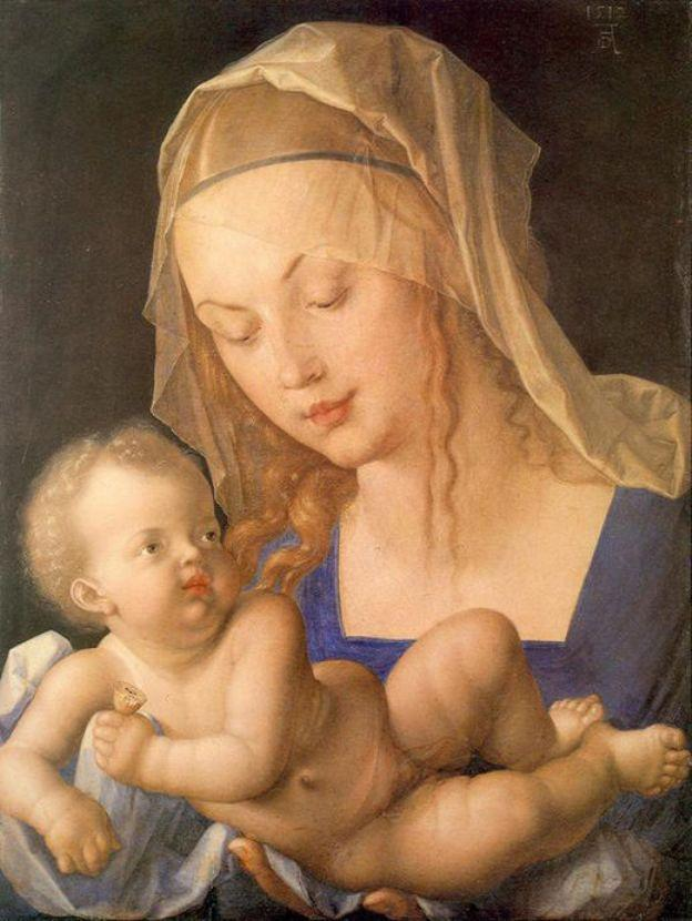 Virgin and child holding a half eaten pear - Albrecht Durer