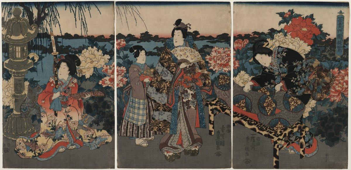 Visit to a peony garden - Utagawa Kunisada II