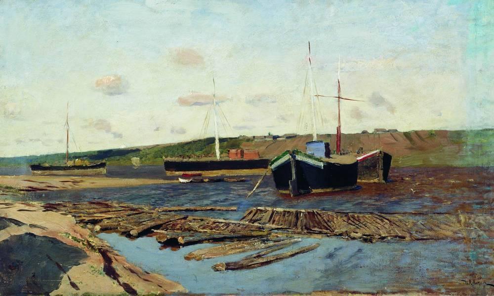 Volga. Barges. - Isaac Levitan