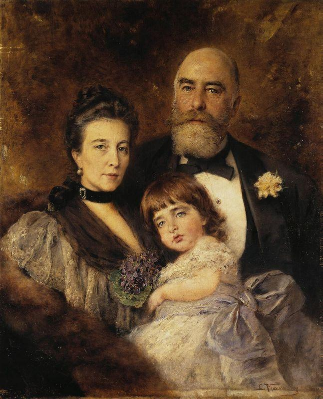 Volkov's Family. Group Portrait of M.S.Volkov, S.N.Volkova and S.M.Volkov-Manzei - Konstantin Makovsky