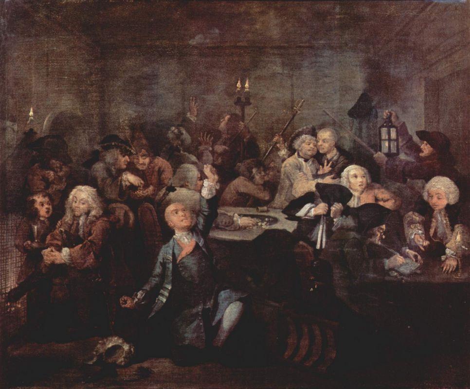 Rake's Progress' The Gaming House - William Hogarth
