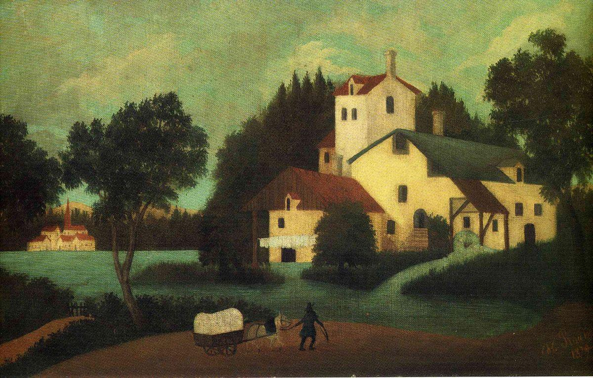 Wagon in Front of the Mill - Henri Rousseau