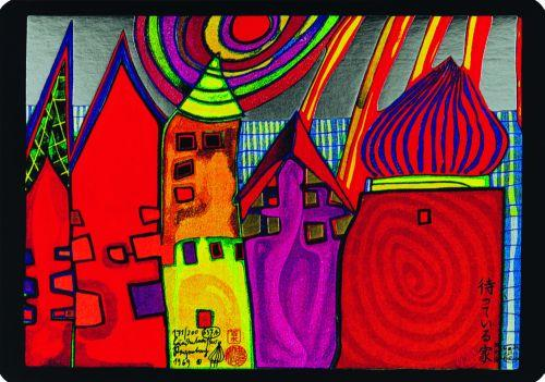 637A  Waiting Houses  - Friedensreich Hundertwasser