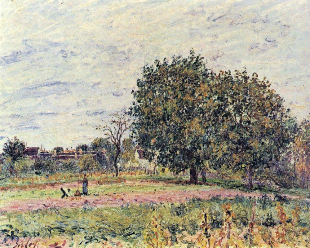Walnut trees at sunset in early October - Alfred Sisley
