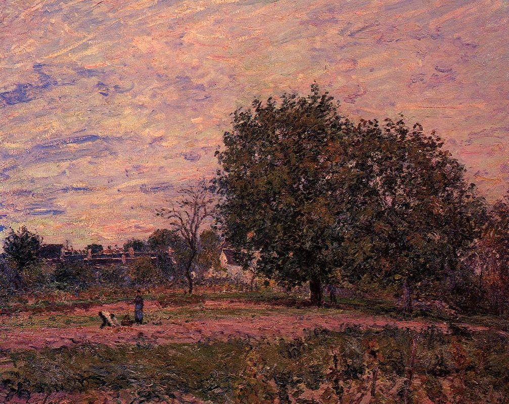Walnut Trees, Sunset Early Days of October - Alfred Sisley