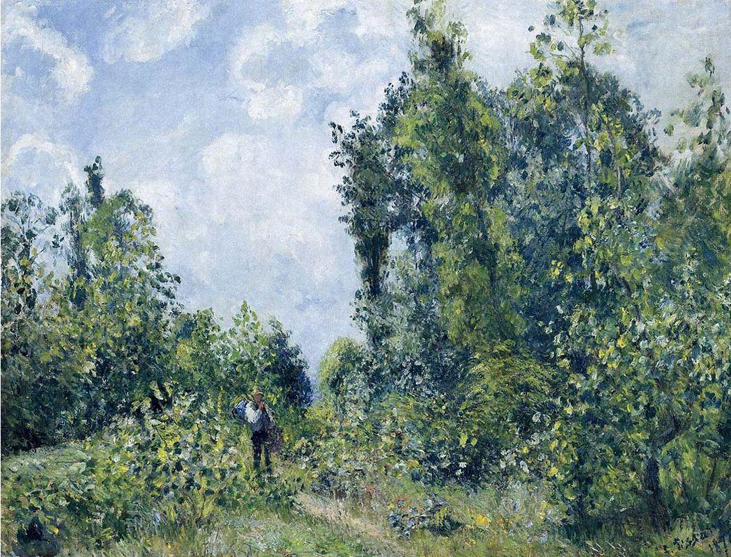 Wanderer near the Wood - Camille Pissarro