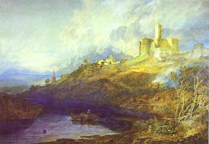 Warkworth Castle, Northumberland; Thunderstorm Approaching at Sunset - William Turner