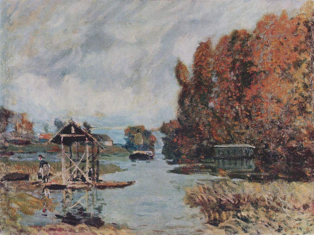 Washerwomen of Bougival - Alfred Sisley