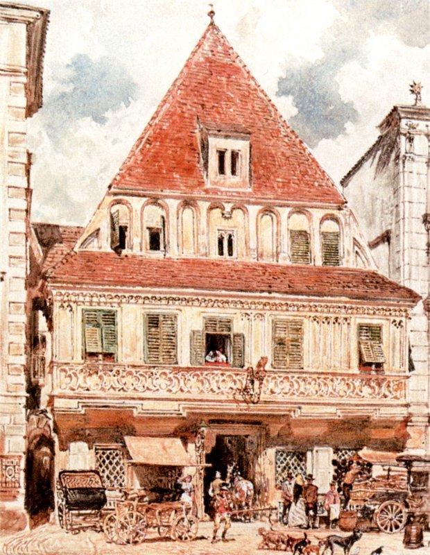 Watercolour of Steyr Bummerlhaus - Rudolf von Alt
