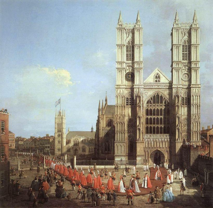 Westminster Abbey, with a Procession of Knights of the Bath - Canaletto