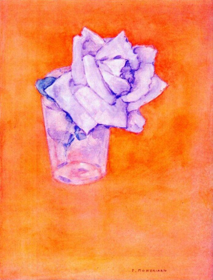White Rose in a Glass - Piet Mondrian
