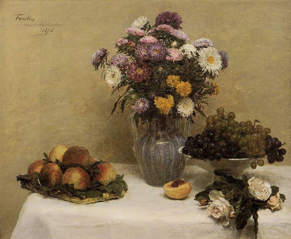 White Roses, Chrysanthemums in a Vase, Peaches and Grapes on a Table with a White Tablecloth - Henri Fantin-Latour