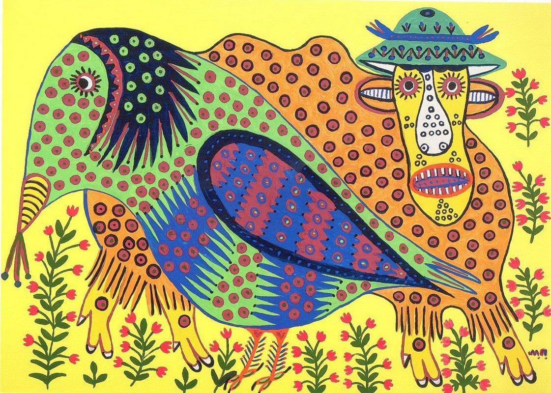 Wild Bull and Raven Are Friends - Maria Primachenko