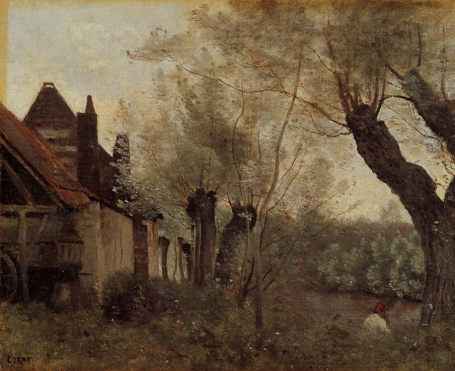 Willows and Farmhouses at Saint Catherine les Arras - Camille Corot