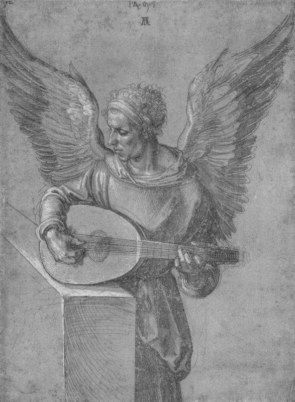 Winged Man In Idealistic Clothing, playing a Lute - Albrecht Durer