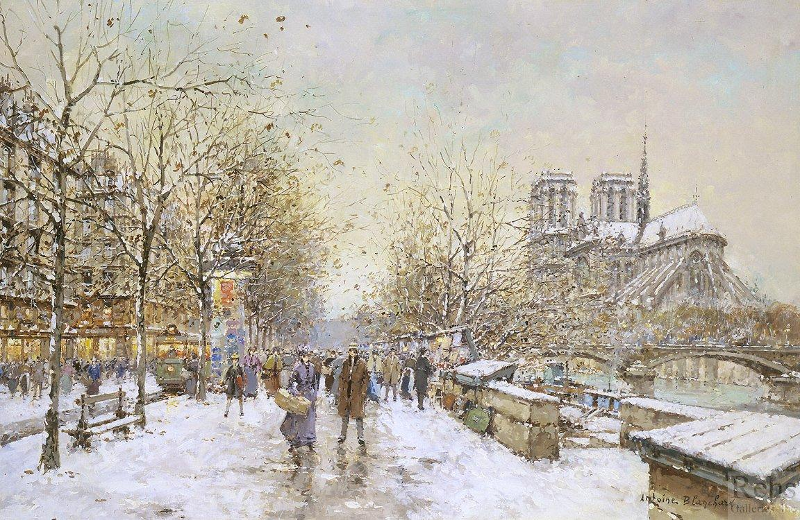 Winter in Paris, Notre Dame - Antoine Blanchard