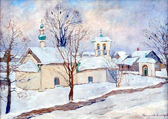 Winter landscape with a church - Nikolay Bogdanov-Belsky