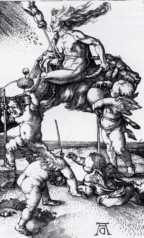Witch Riding Backwards On A Goat - Albrecht Durer