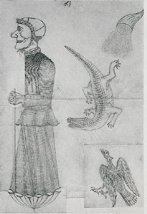 Witch with eagle, crocodile and cornucopia - August Natterer