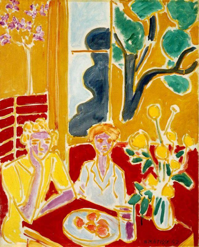 wo Girls in a Yellow and Red Interior - Henri Matisse