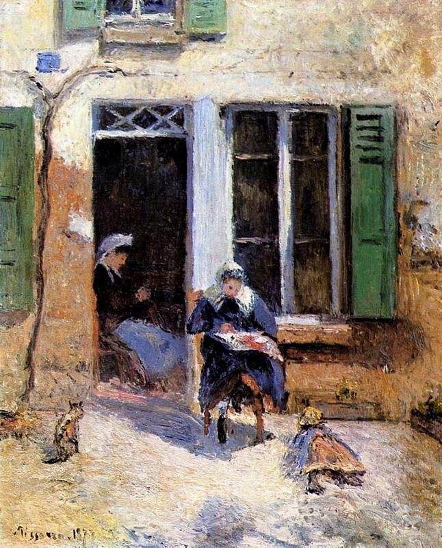 Woman and Child Doing Needlework - Camille Pissarro