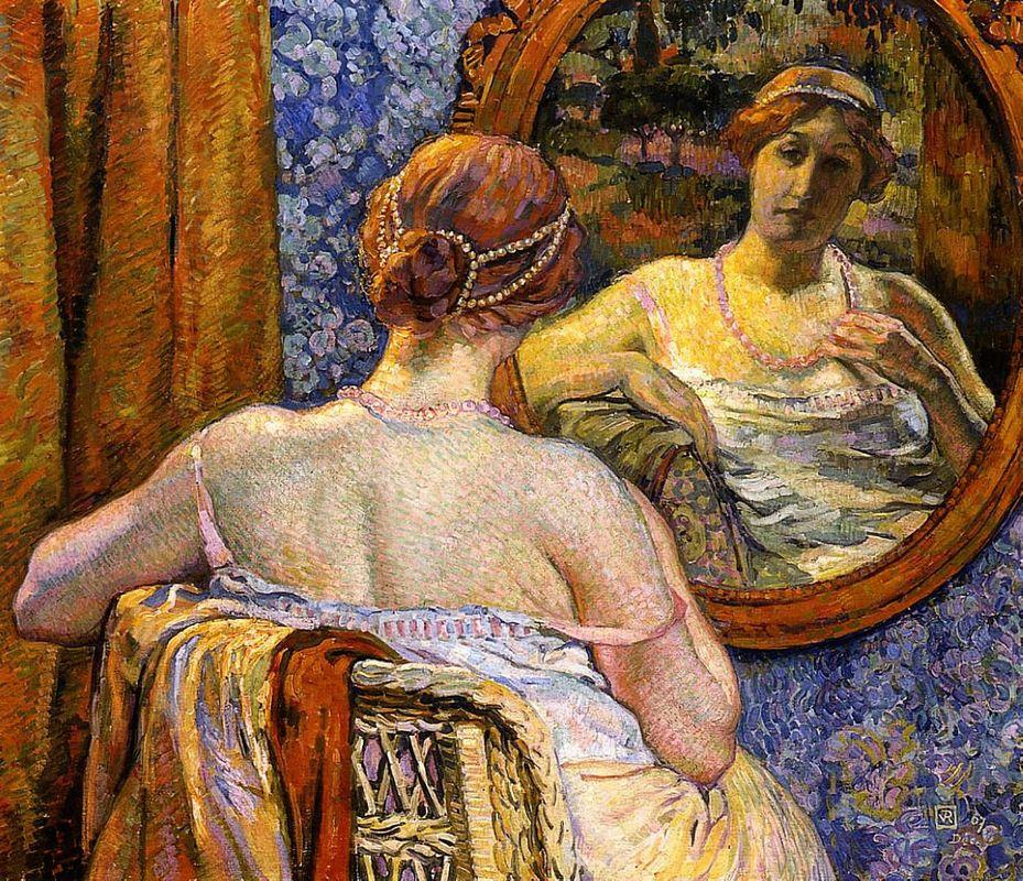 Woman at a Mirror - Theo van Rysselberghe