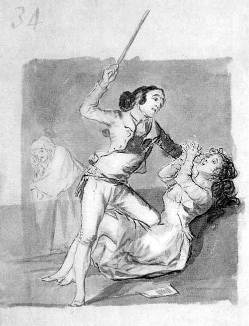 Woman battered with a cane - Francisco Goya