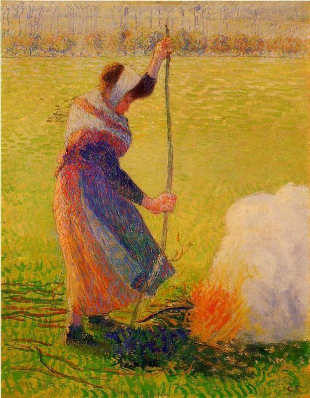 Woman Burning Wood - Camille Pissarro