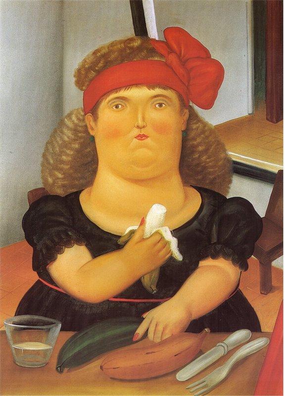 Woman Eating a Bannana - Fernando Botero