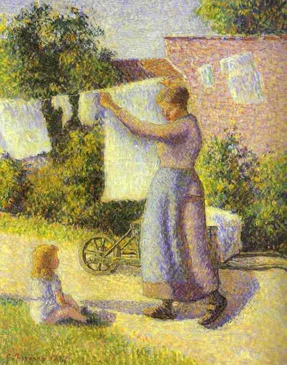 Woman Hanging up the Washing - Camille Pissarro