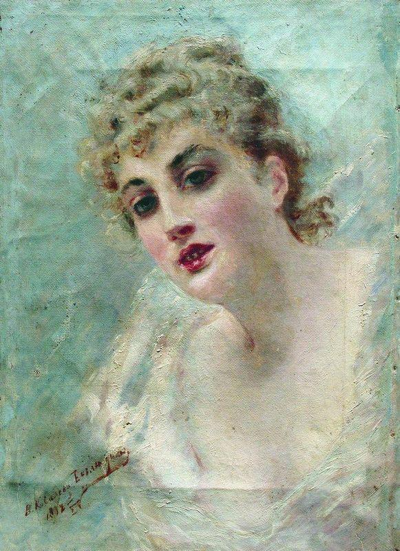 Woman Head (Portrait of E.Kovaliova) - Konstantin Makovsky