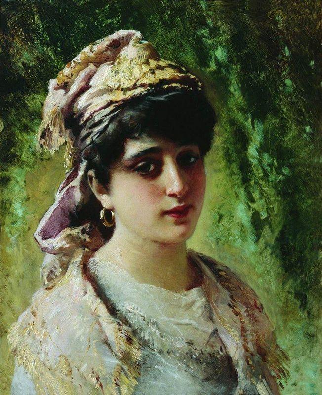 Woman Head - Konstantin Makovsky
